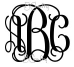 1/2 inch thick Connected Vine Monogram