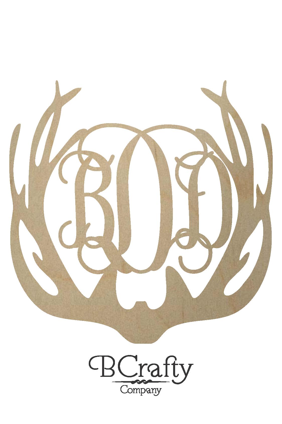 unfinished antler monogram