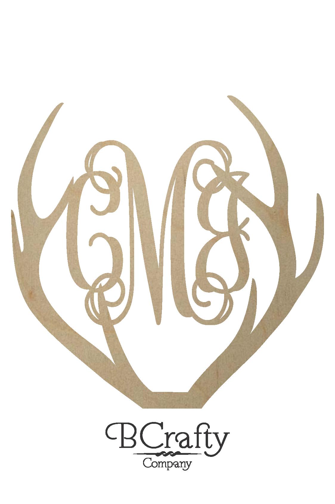 Wooden Antler Monogram Deer Antler Monogram