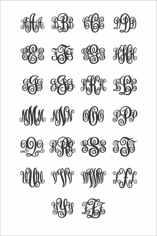 Wooden Monogram KK Examples