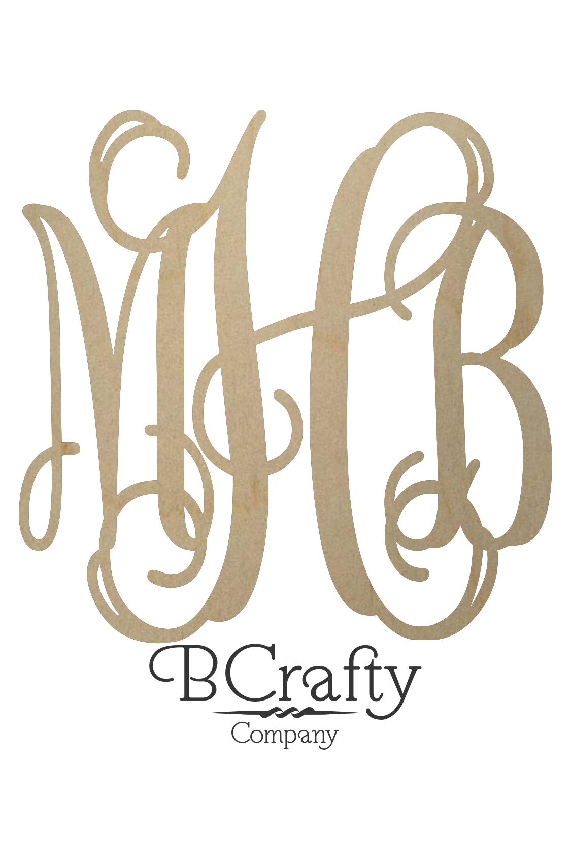 Unfinished Wooden Monogram Wooden Script Monogram