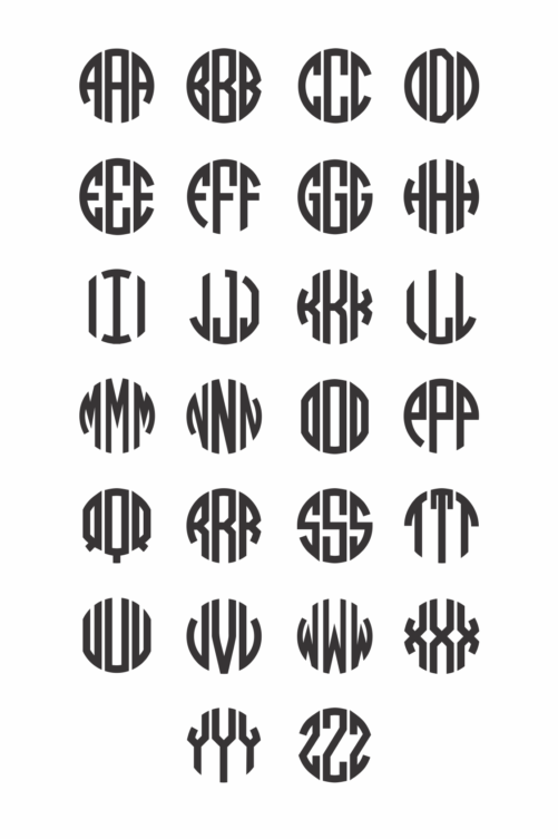Wooden Circle Monogram Examples
