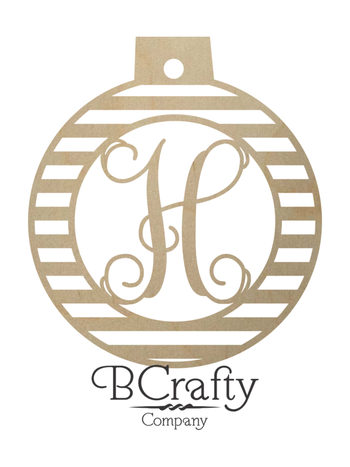 Wooden Ball Ornament with Letter