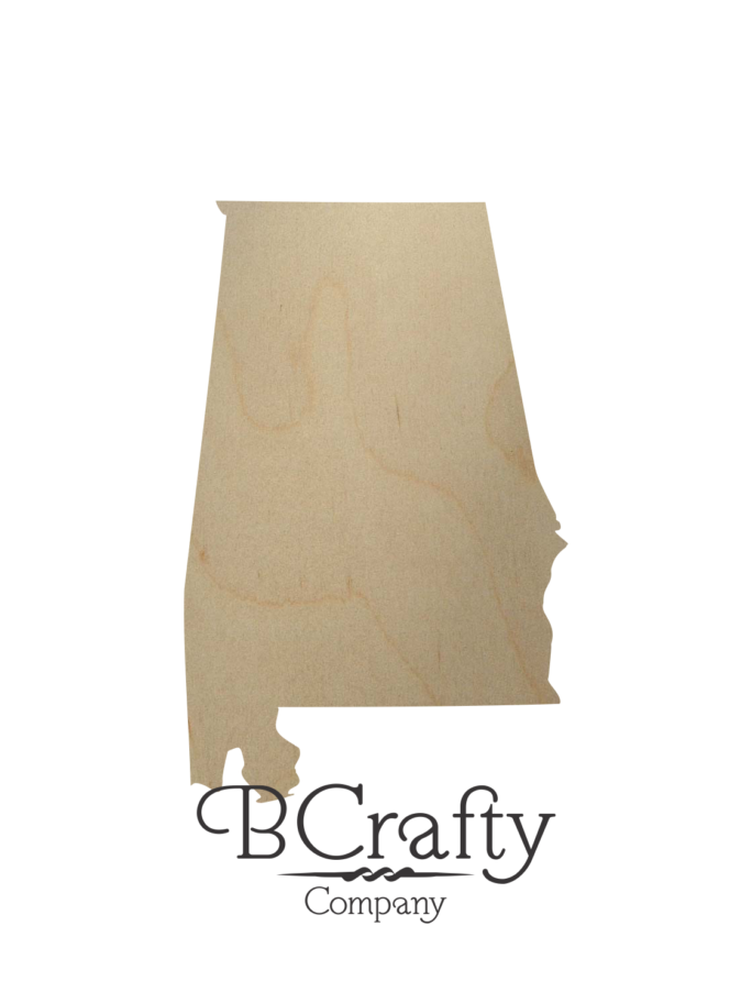 Wooden Alabama State Shape Cutout