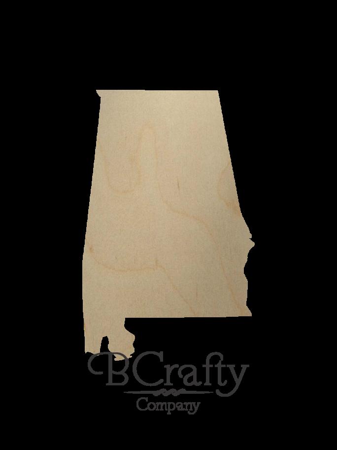 Wooden Alabama State Shape Cutout
