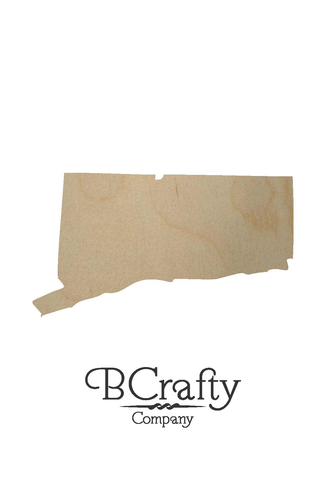 Wooden Connecticut State Shape Cutout