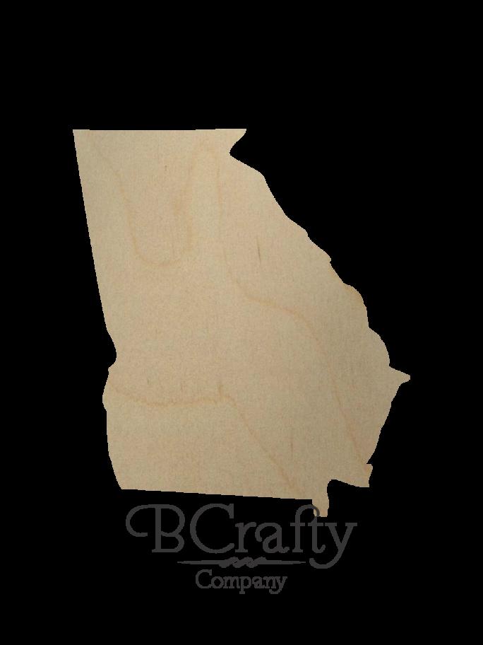 Wooden Georgia State Shape Cutout