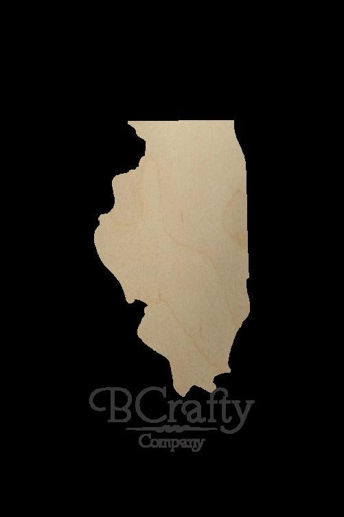 Wooden Illinois State Shape Cutout