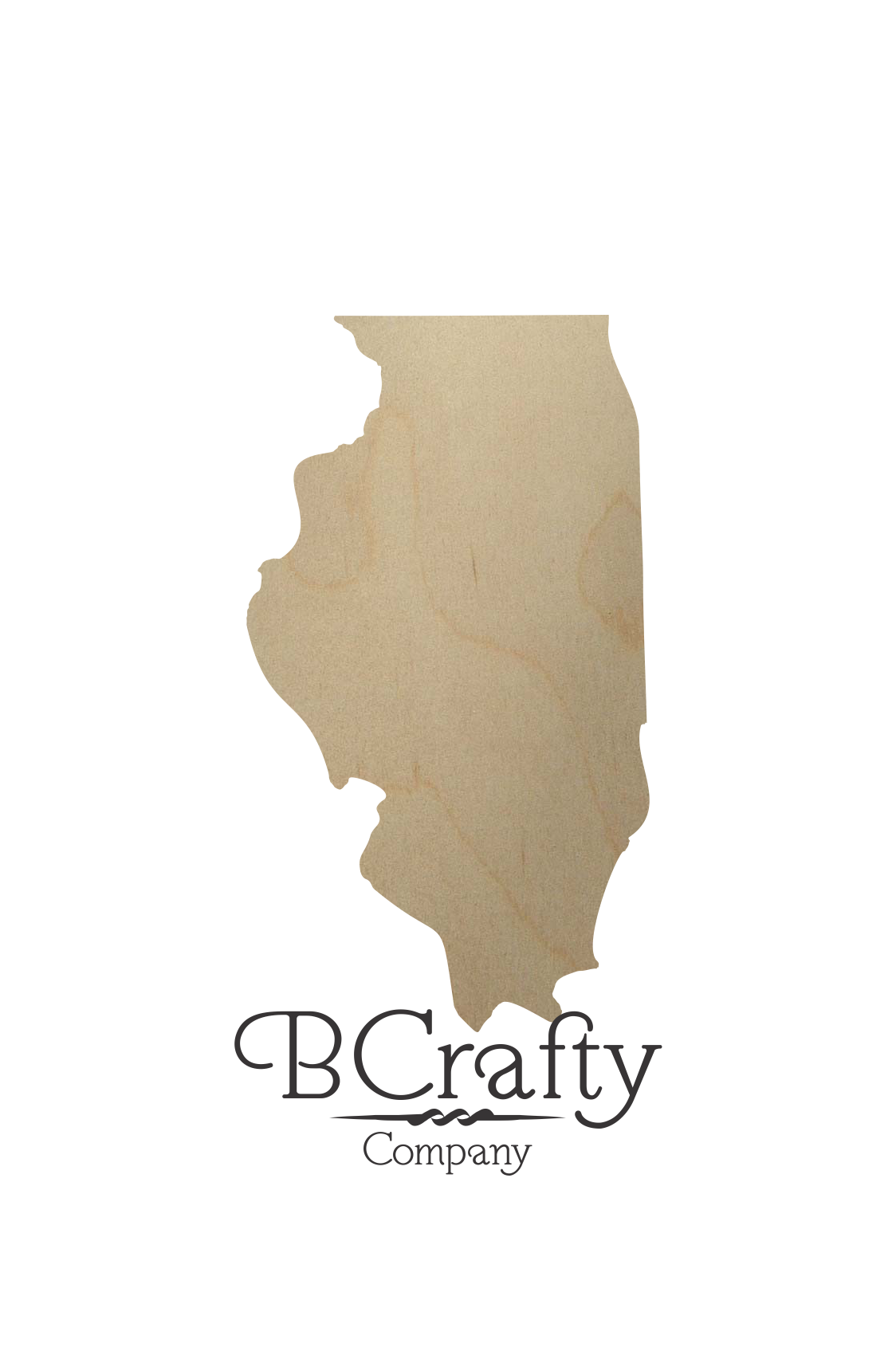 Wooden Illinois State Shape Cutout