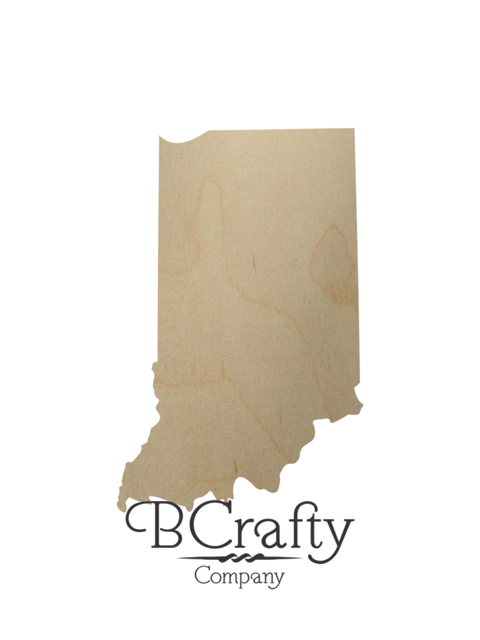 Wooden Indiana State Shape Cutout