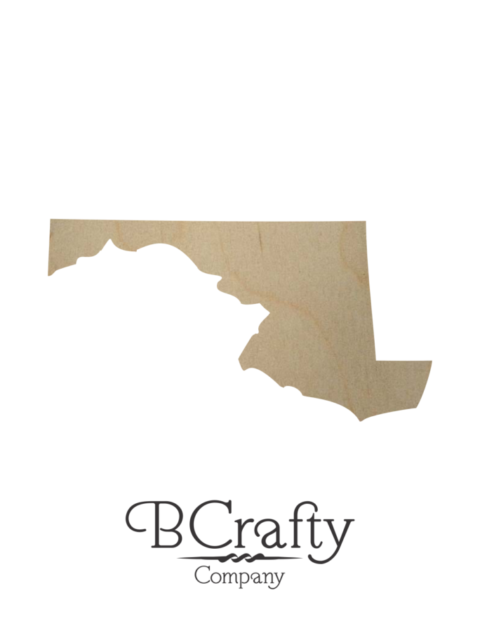 Wooden Maryland State Shape Cutout