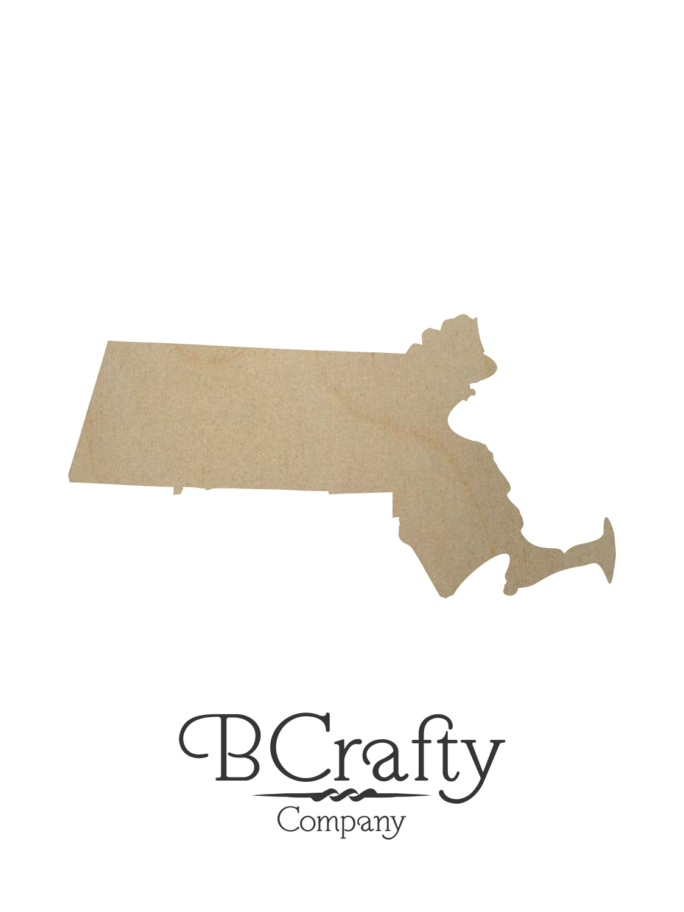Wooden Massachusetts State Shape Cutout