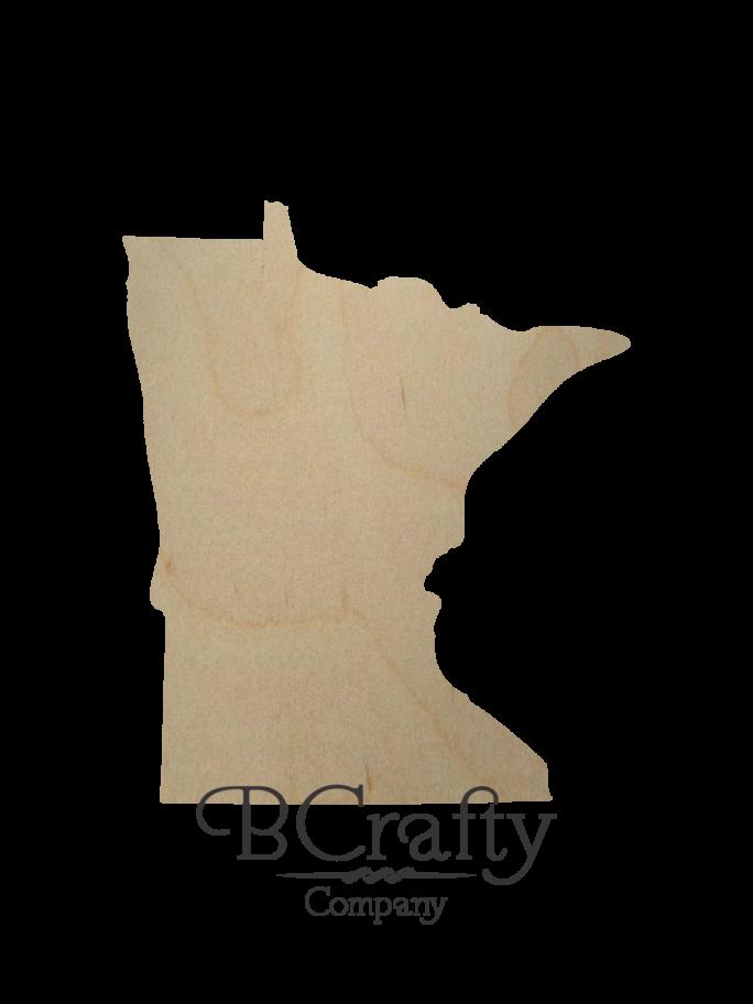 Wooden Minnesota State Shape Cutout