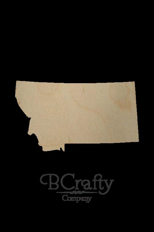 Wooden Montana State Shape Cutout