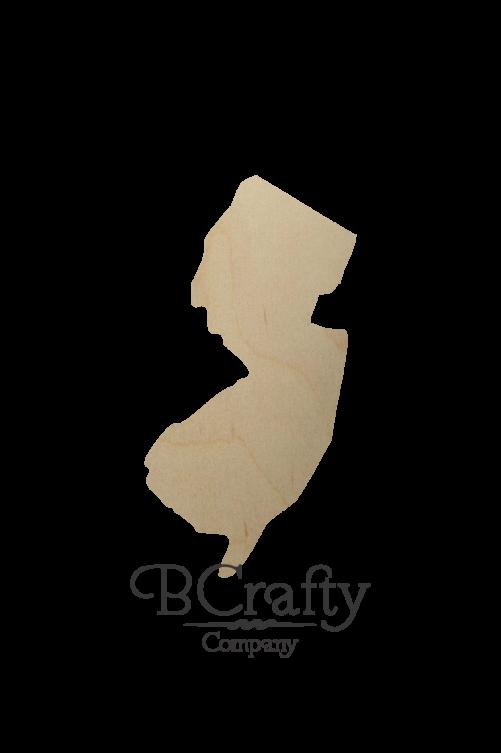 Wooden New Jersey State Shape Cutout