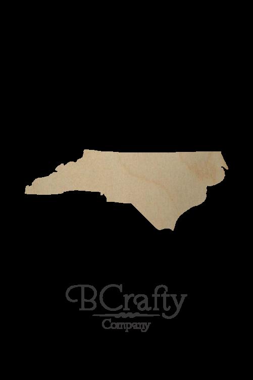 Wooden North Carolina State Shape Cutout