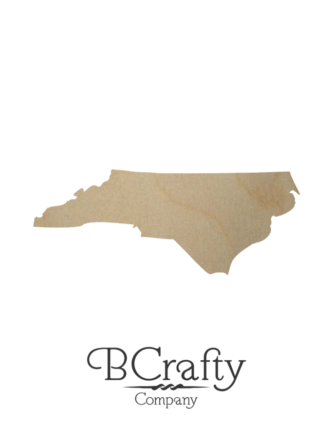 Wooden North Carolina State Shape Cutout