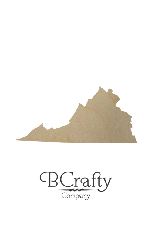 Wooden Virginia State Shape Cutout