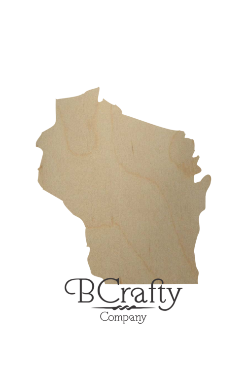 Wooden Wisconsin State Shape Cutout