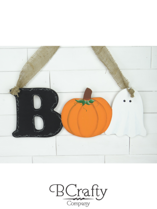 Wooden Boo Cutout Sign w Pumpkin Ghost