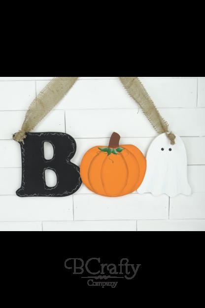 Wooden Boo Cutout Sign w Pumpkin Ghost