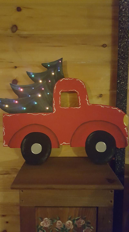 Wooden truck w christmas tree cutout wood pickup truck shape for Wooden christmas cutouts
