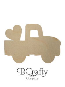 Wooden Pickup w Heart Cutout