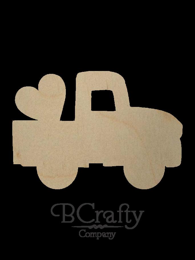 Wooden Pickup w Heart Cutout