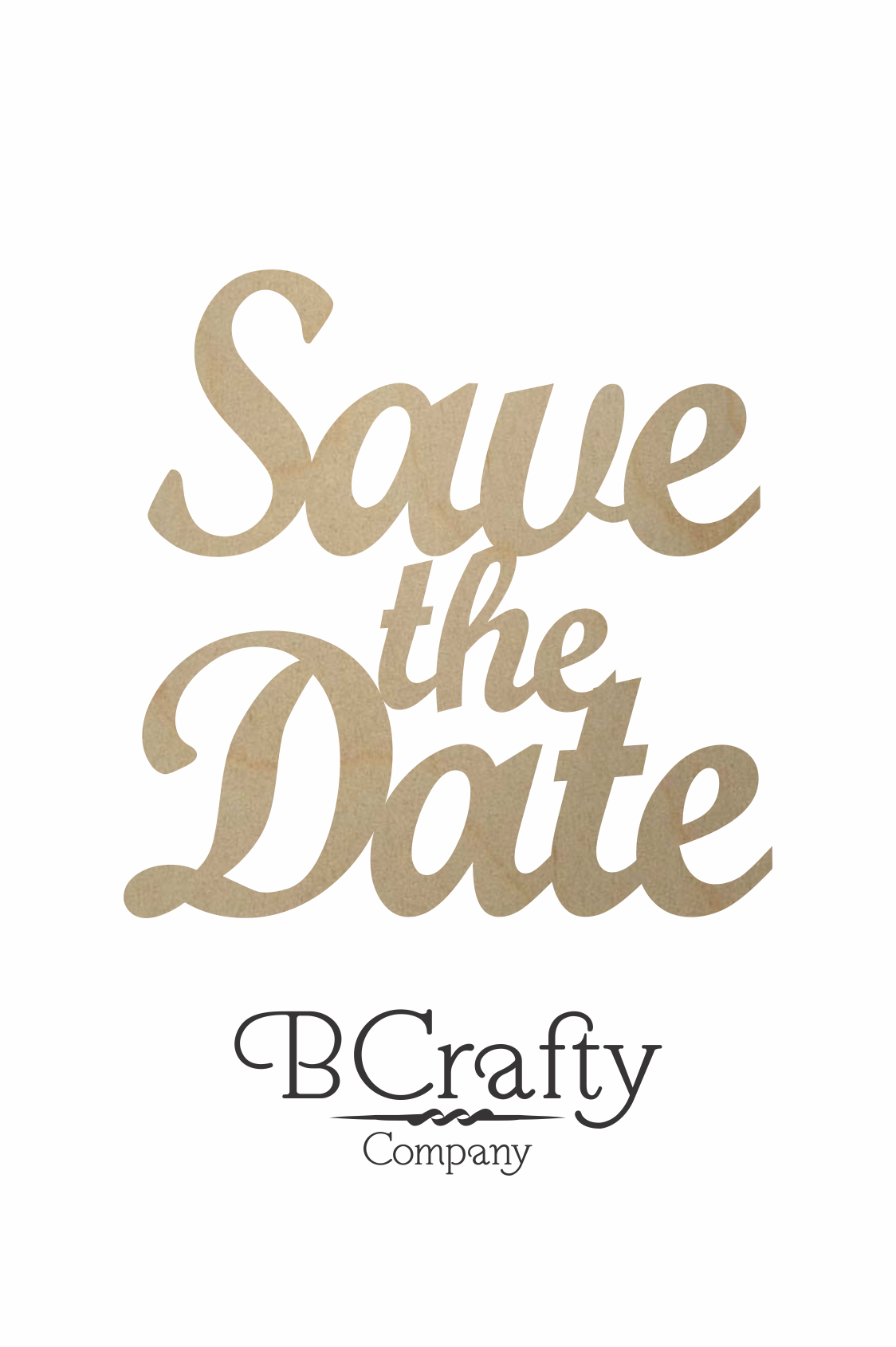 wooden save the date word cutout