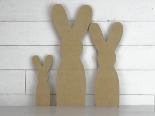 Wooden bunny family cutout