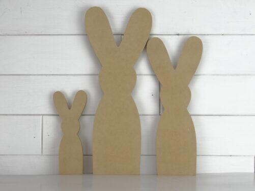 Wooden bunny family cutout