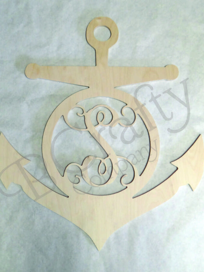 Wooden Monogram Anchor